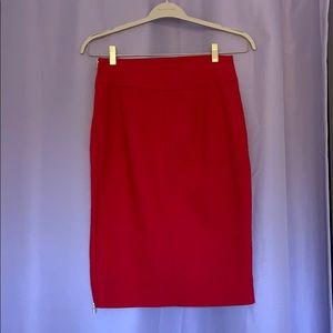 Red pencil skirt from Express! Gold zippers!